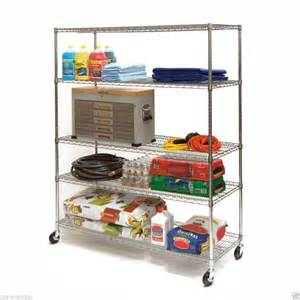 rolling storage shelves nsf industrial commercial garage chrome metal storage wire