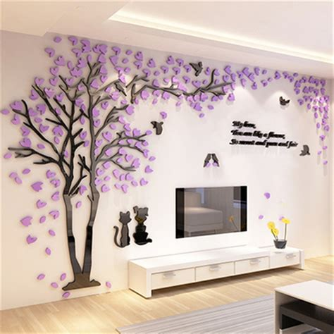 Home Decoration Stickers Aliexpress Buy Creative Tree 3d Sticker Acrylic Stereo Wall Stickers Home Decor Tv