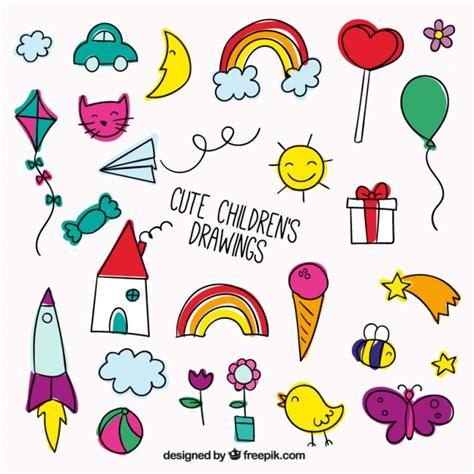 imagenes vectores infantiles bonito conjunto de dibujos infantiles a todo color