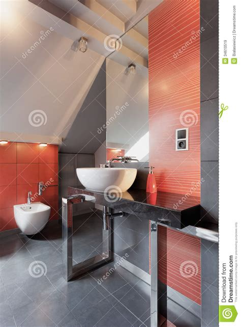 red grey bathroom white vessel sink in bathroom stock image image of light