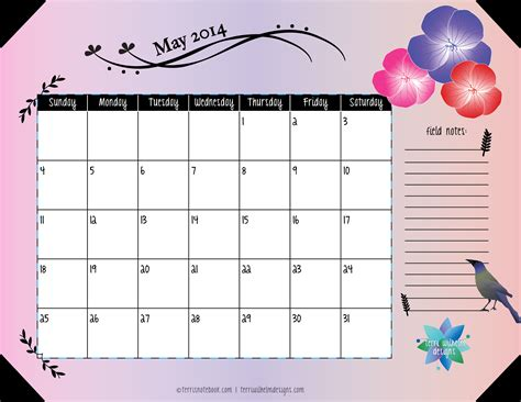 may 2014 calendar template free printable may 2014 calendar s notebook