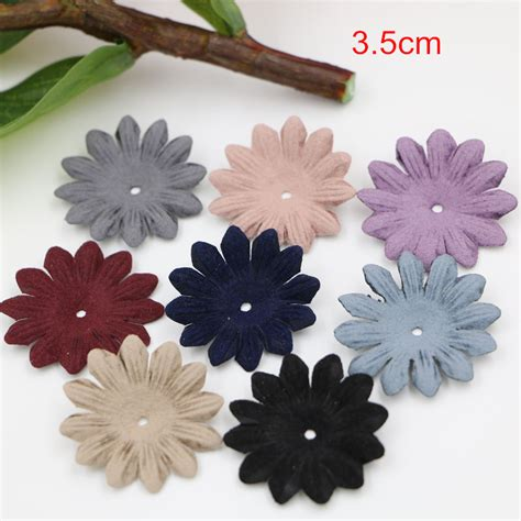 single layer pu leather flowers 3 5cm handmade small