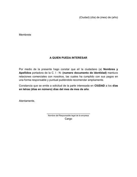carta de referencia personal al banco modelo de referencia comercial