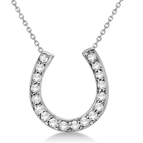 horseshoe pendant necklace 14k white gold 0