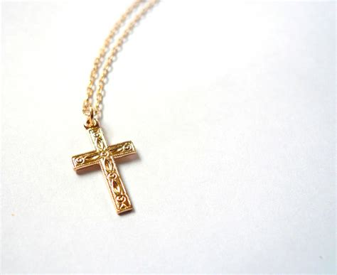 gold cross necklace 14k gold fill christian cross religious