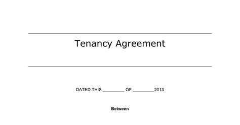 Sle Of Tenancy Agreement Letter In Malaysia Tenancy Agreement Template Docx Docs