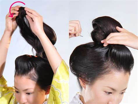 how to do japanese hairstyles traditional 着物の髪型 ヘアスタイル 11 新日本髪の結い方 京染卸商業組合