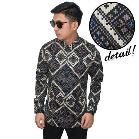 Kemeja Batik Songket Diagonal Brown jual model baju terbaru butik fashion 21