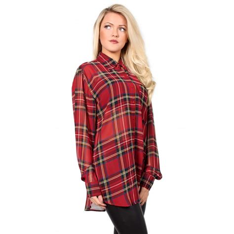 Tartan Blouse 1 tartan chiffon shirt from parisia