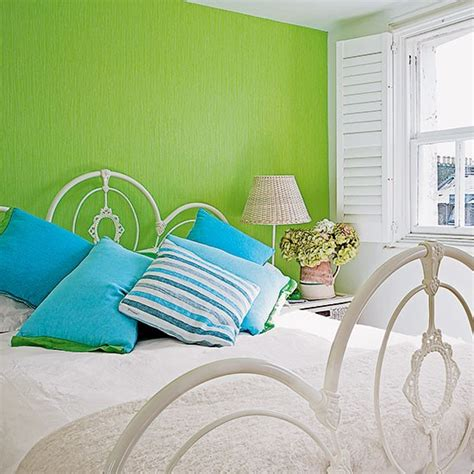 green feature wall bedroom bright green and white bedroom decorating housetohome