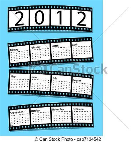 Pelicula Calendario 2012 Vector 2012 Pel 237 Cula Tira Calendario Stock De