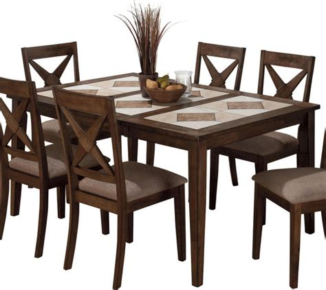 Pedestal Dining Table With Tile Top Butterfly Leaf Jofran 794 64 Tri Color Tile Top Dining Table With