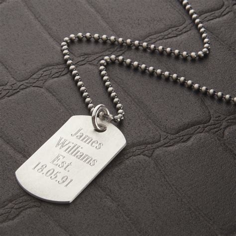 mens tag necklace mens personalised sterling silver tag necklace hurleyburley