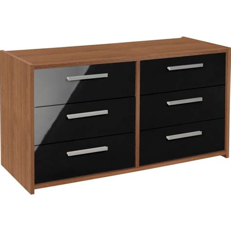 buy home new sywell 3 3 drawer chest walnut effect black
