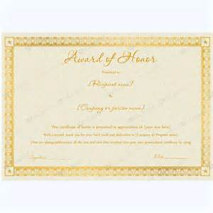 award certificate templates word 2007 award of honor 03 word layouts