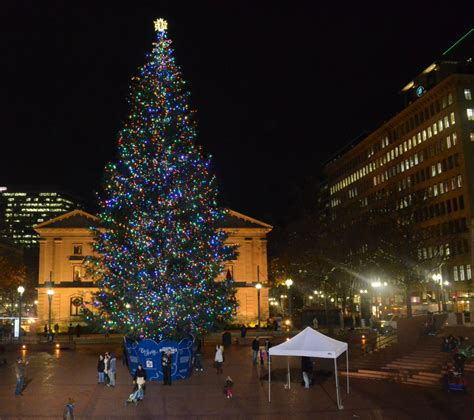 christmas tree lighting downtown portland or portland or daily photo portland s tree seen at pioneer courthouse square