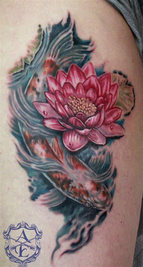 tattoo koi flower lotus flower with koi fish tattoo by seanspoison on deviantart