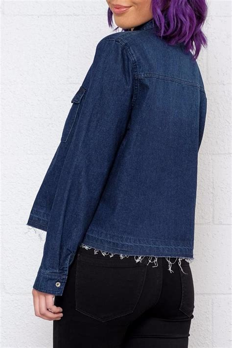 Nn010 Atasan Crop Top Denim Import signature 8 cropped denim shirt from vancouver by 8th shoptiques