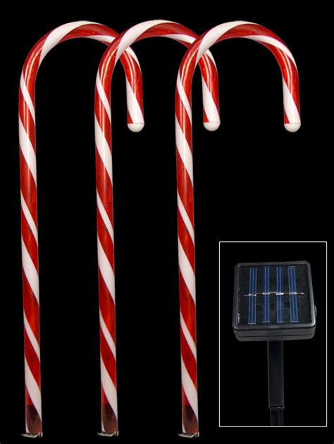 5 red led candy cane solar stake light 54cm christmas