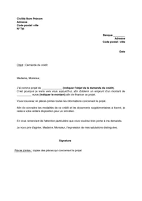 Demande De Credit Bancaire Lettre Exemple De Lettre Pour Demande De Pr 234 T Bancaire Parole D Experts