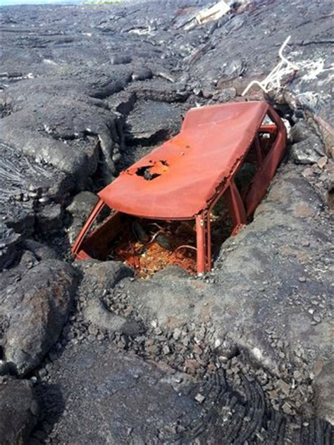 lava boat tours cancelled car consumed by lava on hawaii volcano tours picture of