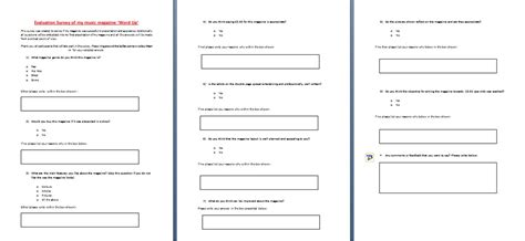 layout for questionnaire magazine my evaluation survey layout