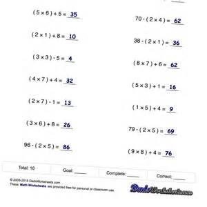 5th grade math problems with parentheses worksheets free