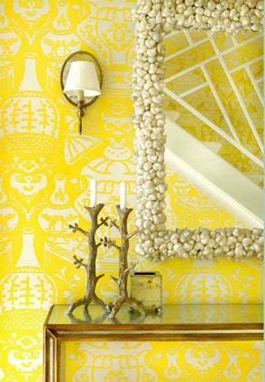 yellow wallpaper foyer meg braff interiors hooked  houses