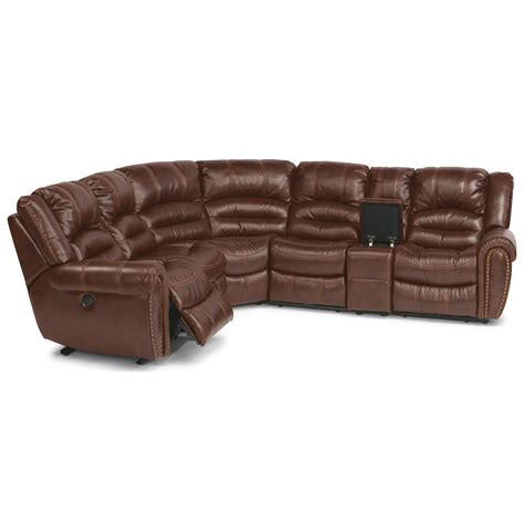 Flexsteel Crosstown Six Piece Power Reclining Sectional Motorized Sectional Sofa