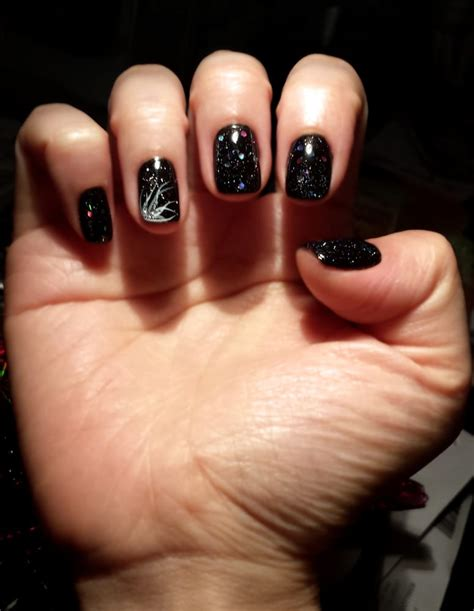 design nails jersey city nj black shellac with 3 kinds of glitter topcoat and design