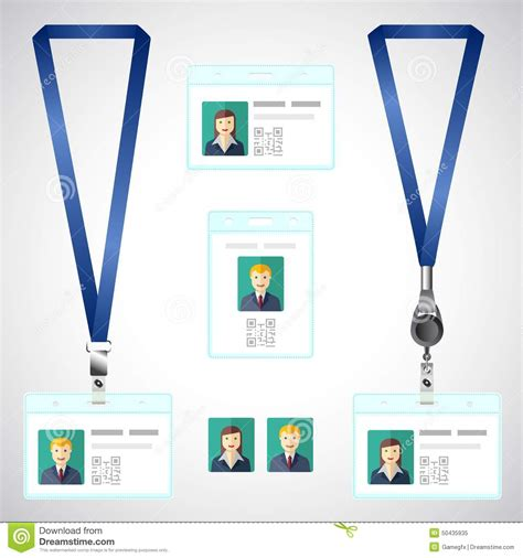 Lanyard Name Badge Template Lanyard Name Tag Holder End Badge Id Template Stock Vector Illustration Of Company Badge