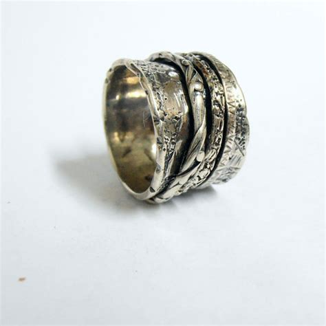 sterling silver 3 band spinning rings unisex spinning