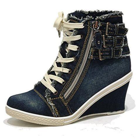 Wedges Boots Zipper Blue s blue denim wedge sneakers buckle zipper high top