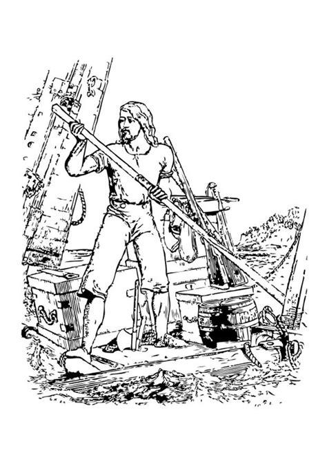 Disegno da colorare Robinson Crusoe - naufrago - Disegni