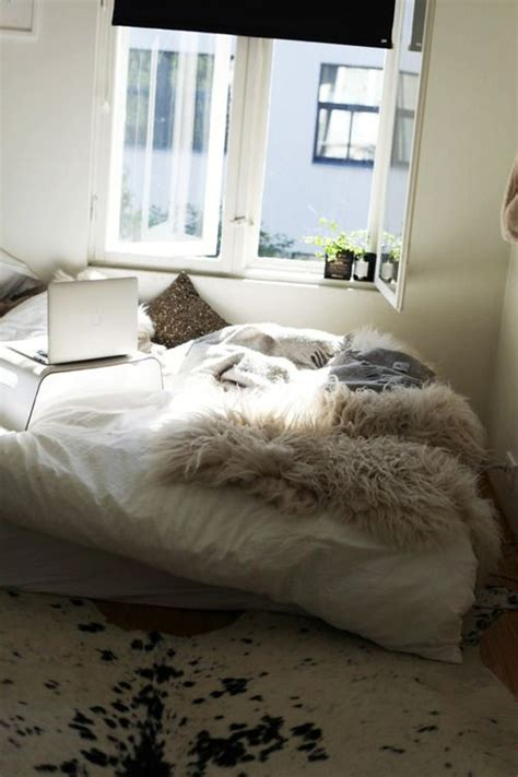 Bedroom Fur Rug White Room With A Pile Of Faux Fur Blankets Rustic Faux