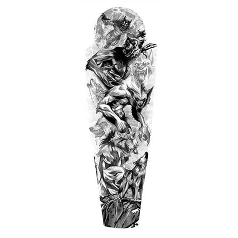 custom half sleeve tattoo designs werewolves sleeve designs designs