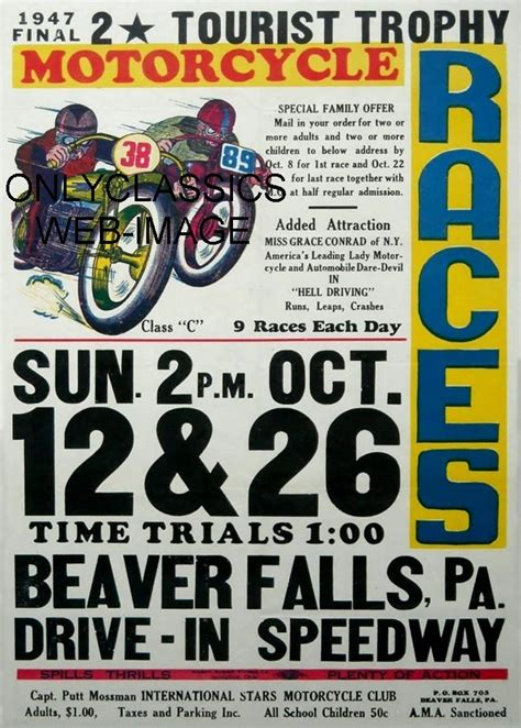 motocross races in pa 1947 ama motorcycle racing poster beaver hills pa speedway
