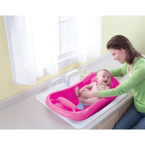 pink baby bathtub deluxe newborn to toddler tub pink baby bath tub w sling best educational infant