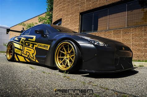 nissan gtr matte black gold rims rennen forged r55 on liberty walk nissan gt r r35
