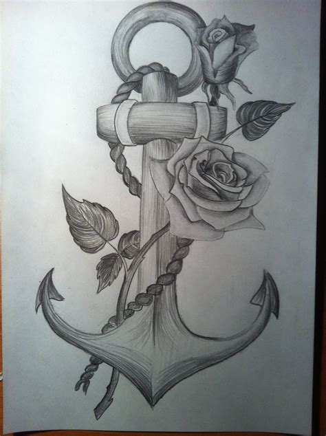 anchor rose tattoo anchor with a time lapse drawing