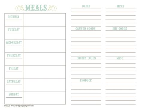 meal planner template nz printable planner template