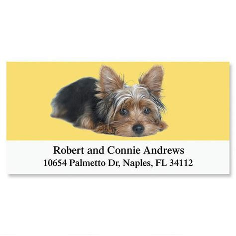yorkie address labels yorkie deluxe return address labels colorful images