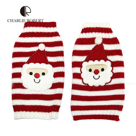 new year clothes for dogs santa claus knitting sweater new year winter
