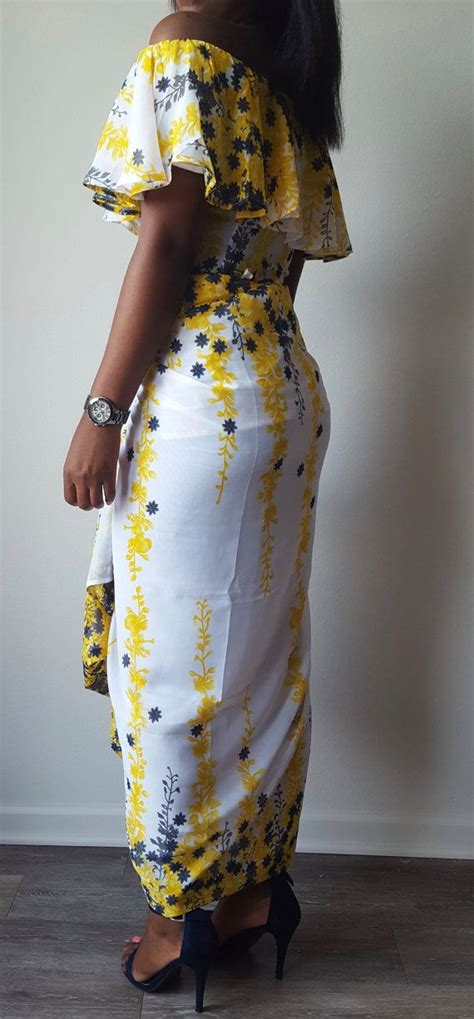 yellow fitted buba meena chiffon off shoulder yellow white and blue floral