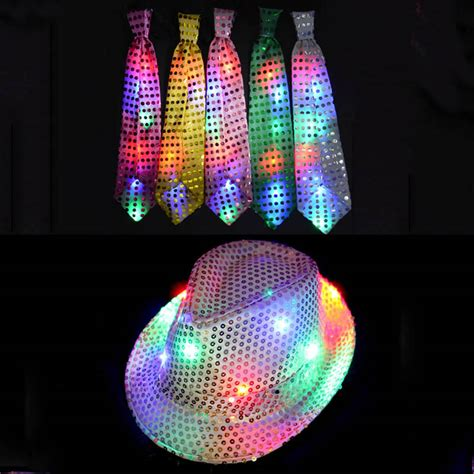 no glow caps for christmas lights christmas woman man sequins light up led neck tie hip hop
