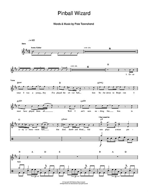 wizard music the who pinball wizard sheet music
