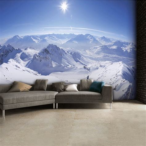 mountain wall murals snowy mountain tops ski wall mural 315cm x 232cm