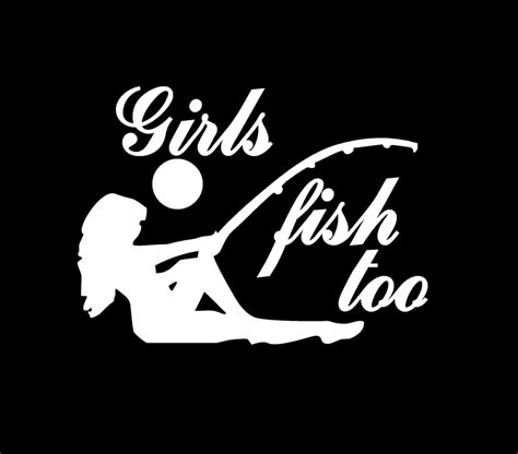 girls fish too funny window vinyl decal stickers custom