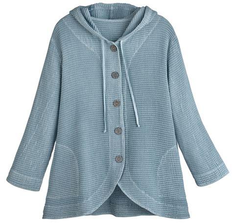 Jaket Sweater tunic jacket hooded button front waffle sweater ebay