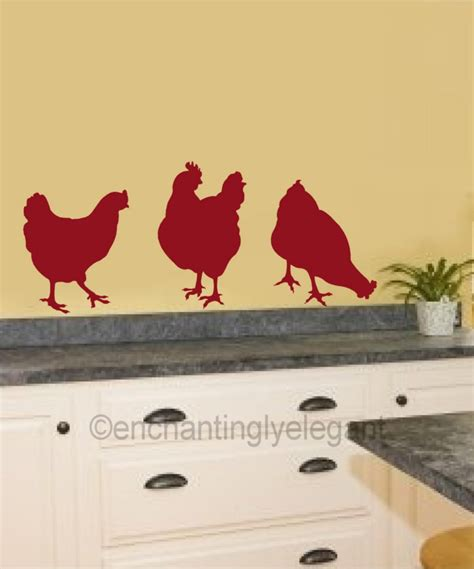 Chickens Vinyl Decal Wall Stickers Garden Farm Theme Garden Wall Decal